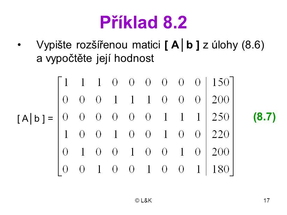 Příklad 8.2 Vypište rozšířenou matici [ A│b ] z úlohy (8.6) a vypočtěte její hodnost. (8.7) [ A│b ] =